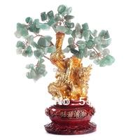 Naturalny kryształ szczęście drzewo  przynosi bogactwo i skarb fortunę drzewa green JX1737 w Figurki i miniatury od Dom i ogród na