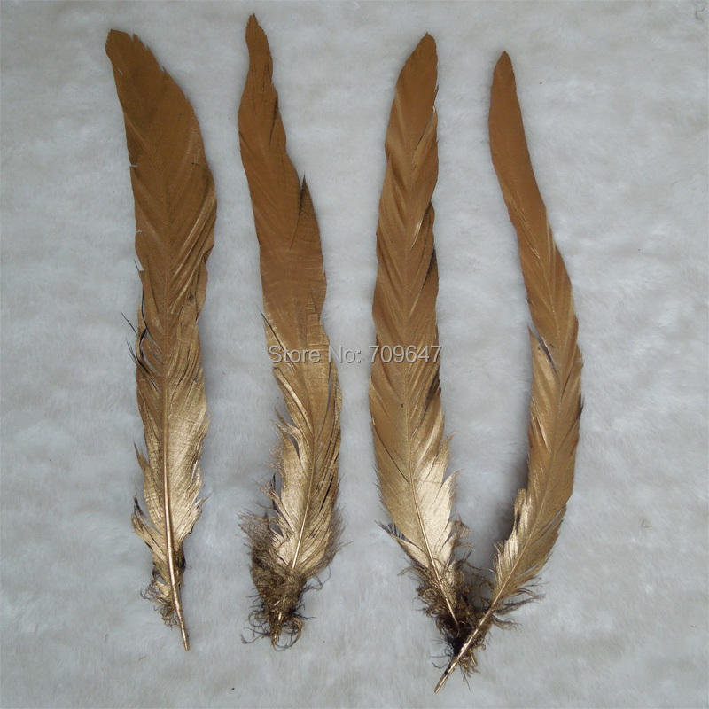 """25 pcs 12-14/"""" long Gold Yellow Dyed Rooster COQUE tail Feathers for crafting"""