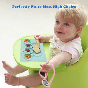 Qshare Baby Dishes Silicone Infant Plate Bowls Kids Tableware Food Holder Tray Children Food Container Placemat for Baby Feeding