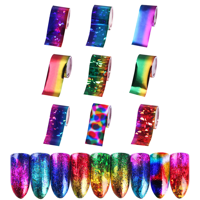 9 Sheets Gradient Starry Sky Nail Foil 7PCS 8PCS 12PCS 15PCS 24PC 50PCS Nail Art Transfer Sticker Set for Nail Art Decoration in Stickers Decals from Beauty Health
