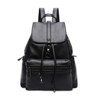 Waterproof Casual Backpack Teenager Girls Shoulder Bag Fashion PU Leather Solid Black School Bag