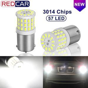 Image 1 - 2 uds. De bombillas LED de cerámica 1156 BA15S P21W LED 1157 BAY15D P21/5W 1200LM R5W, luces de freno de señal de giro para coche, 12V, color blanco