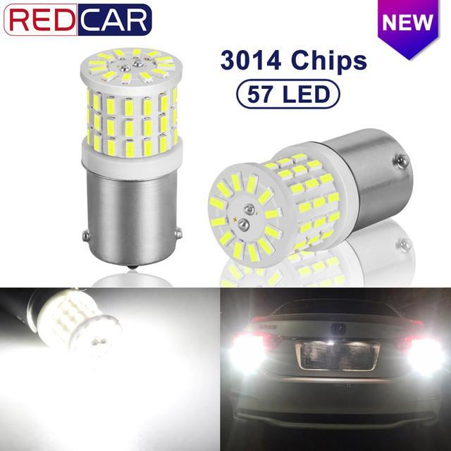 2 uds. De bombillas LED de cerámica 1156 BA15S P21W LED 1157 BAY15D P21/5W 1200LM R5W, luces de freno de señal de giro para coche, 12V, color blanco