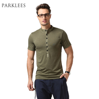 6 Colors T Shirt Men 2017 Summer Short Sleeve Slim Fit Henley T Shirts Brand Design