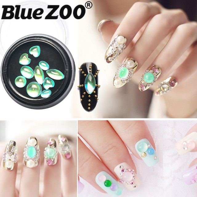 Mix Shape Green Opal Rhinestone For Nail Art Decorations DIY Beauty ...