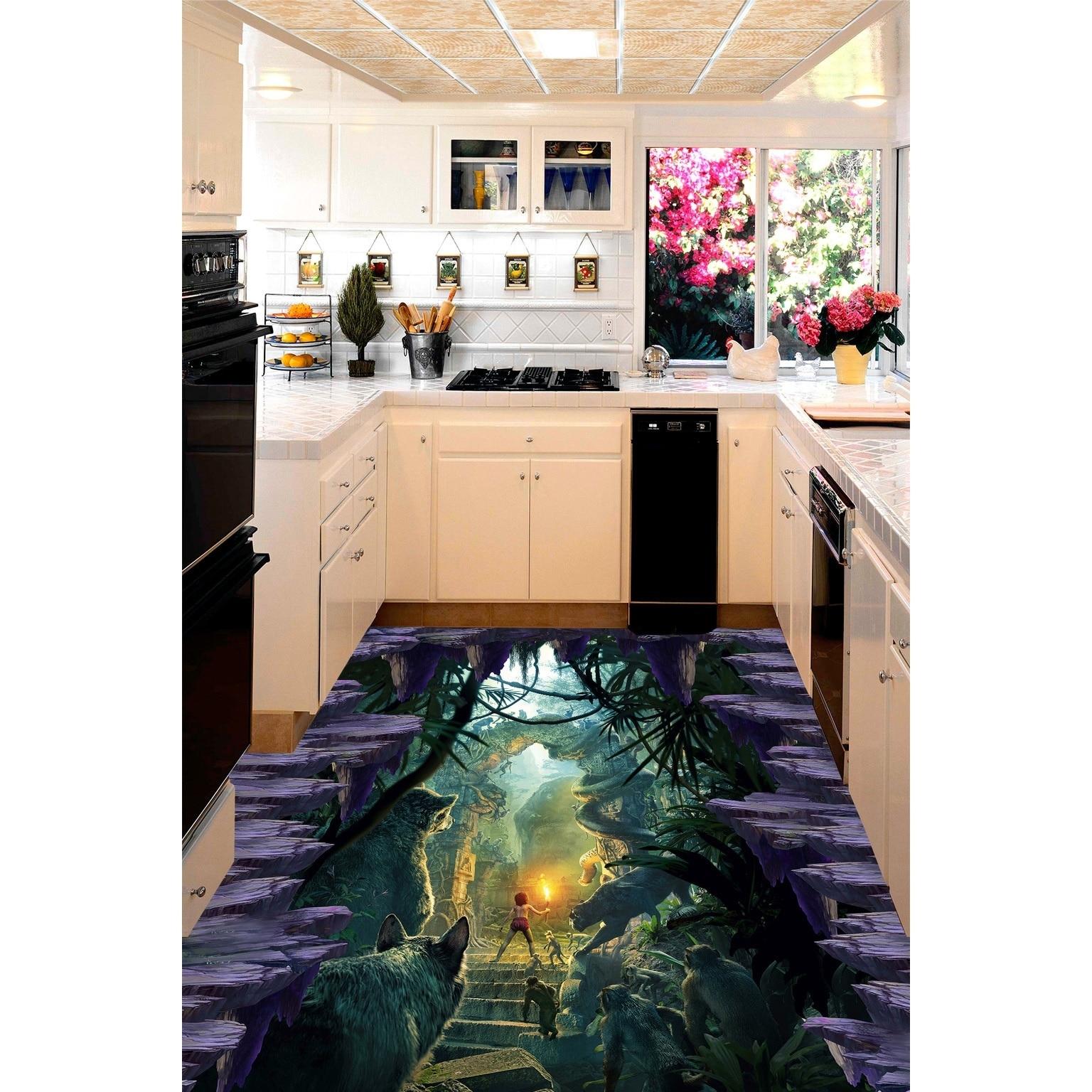 Salle De Bain Papier Peint Ou Peinture ~ 3d pvc plancher personnalis mur stickeranimal uni 3d salle de bains
