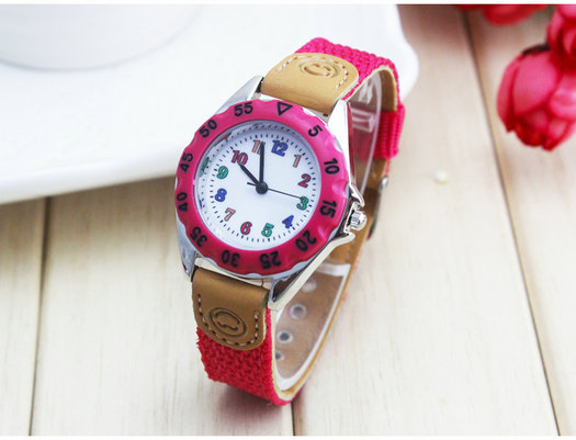 Free Ship 5Colors High Quality Colorful Kids Children's Gift Boy Girl Fabric Strap Learn Time Tutor Student Wristwatch