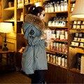 2016 Зимний Мех Куртка Женщин Белая Утка Вниз Parka Куртки Натуральный Мех Енота Воротник Женщин Зимнее Пальто Женщин Парки B745
