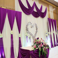 2017 new arrival purple wedding backdrop curtain with swag wedding drapes event party hotel wedding stage background decoration