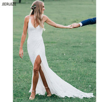 JIERUIZE White Lace Backless Boho Wedding Dresses 2019 V neck Spaghetti Straps Beach Bride Dresses robe de mariee