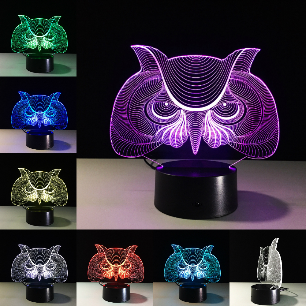Lights & Lighting Owl Bird 7 Colors Adjustable Usb Creative 3d Night Light Lighting 7 Color Change Led Table Desk Lamp Xmas Gift Dropship Led Night Lights
