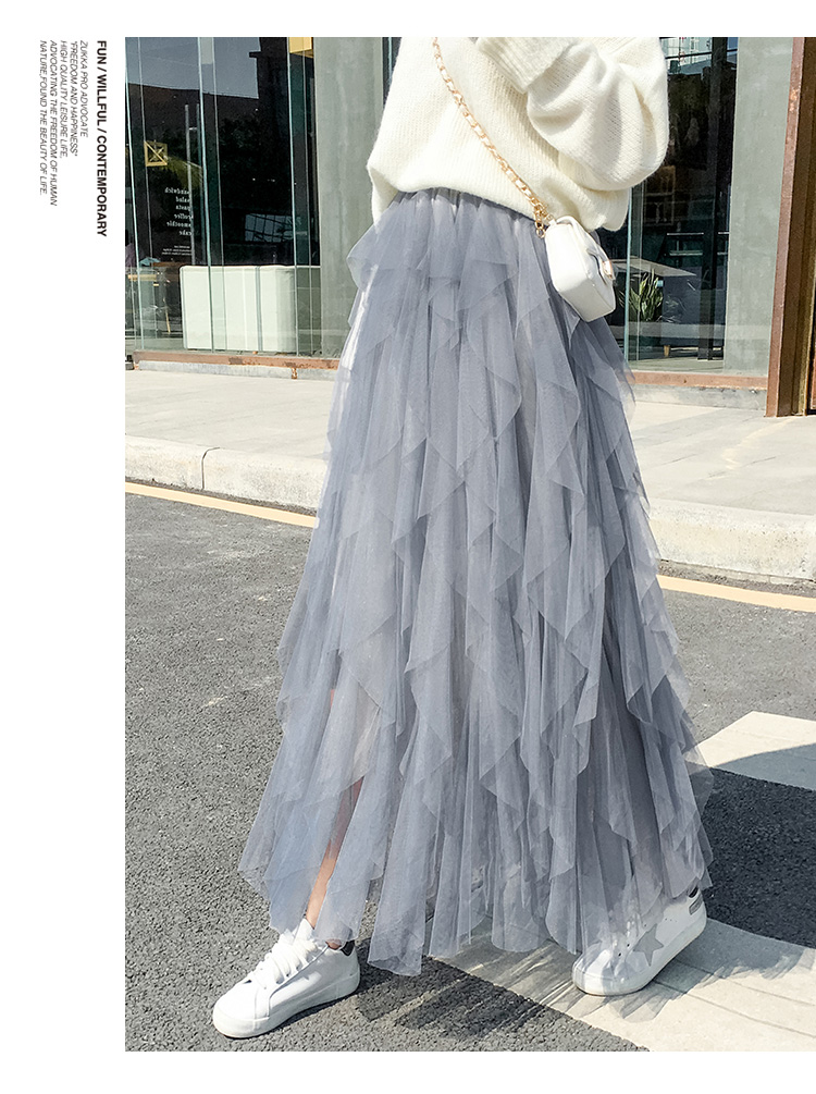 Women irregular Tulle Skirts Fashion Elastic High Waist Mesh Tutu Skirt Pleated Long Skirts Midi Skirt Saias Faldas Jupe Femmle 52