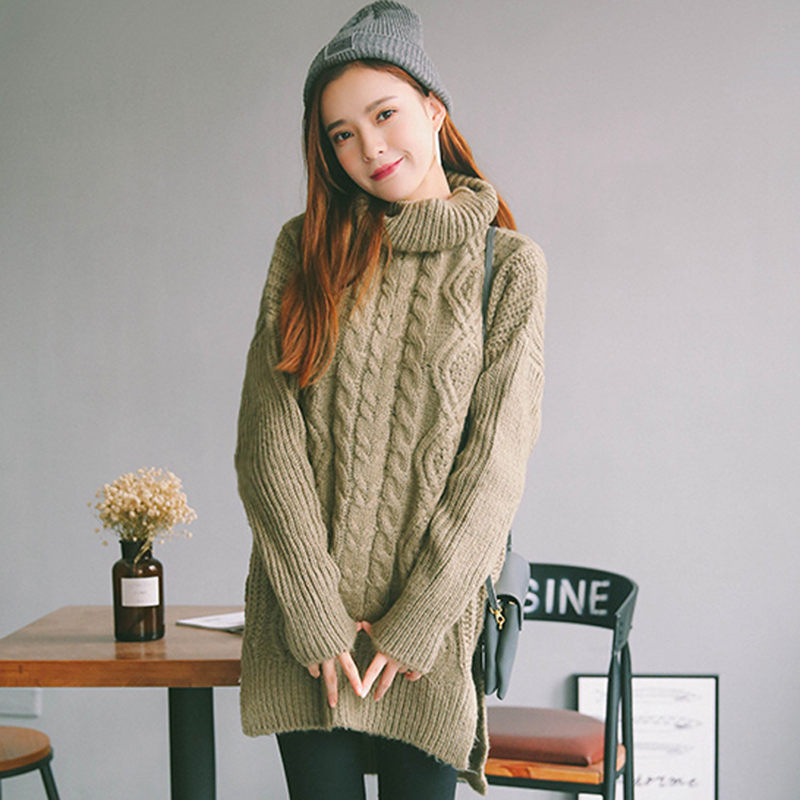 2016 Women Wool Turtleneck Knitted Thick Sweater Loose Long Sleeve Asymmetric Pullover Fashion Christmas Plus Size Pull Femme