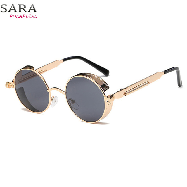 8fa76186d179 Metal Round Steampunk Sunglasses Men Women Fashion Glasses Brand Designer  Retro Frame Vintage Sunglasses High Quality UV400