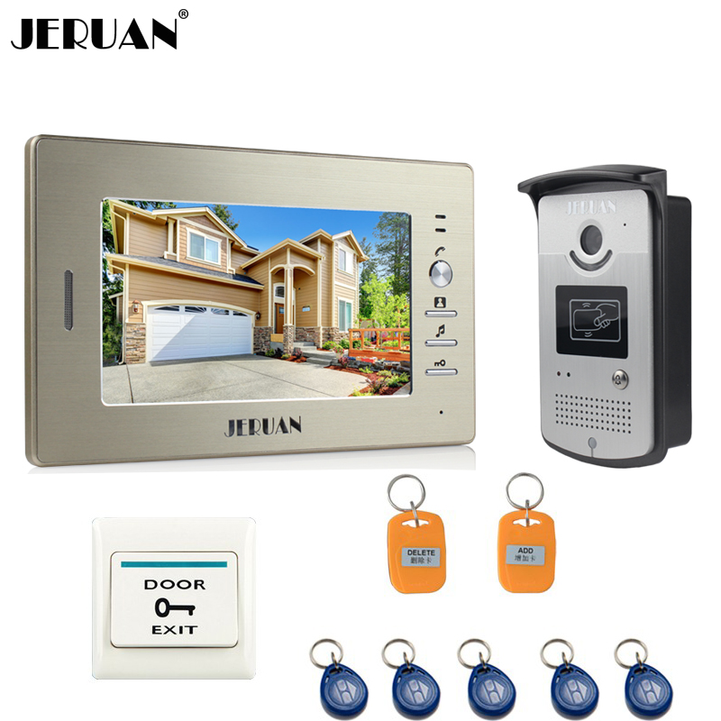 JERUAN Home 7 inch Color Video Intercom Entry Door Phone System RFID Access IR COMS Camera 1 Monitor Doorbell intercom In Stock free shipping wired 7 inch color video intercom home door phone system 3 white monitor 1 hd rfid access doorbell camera in stock