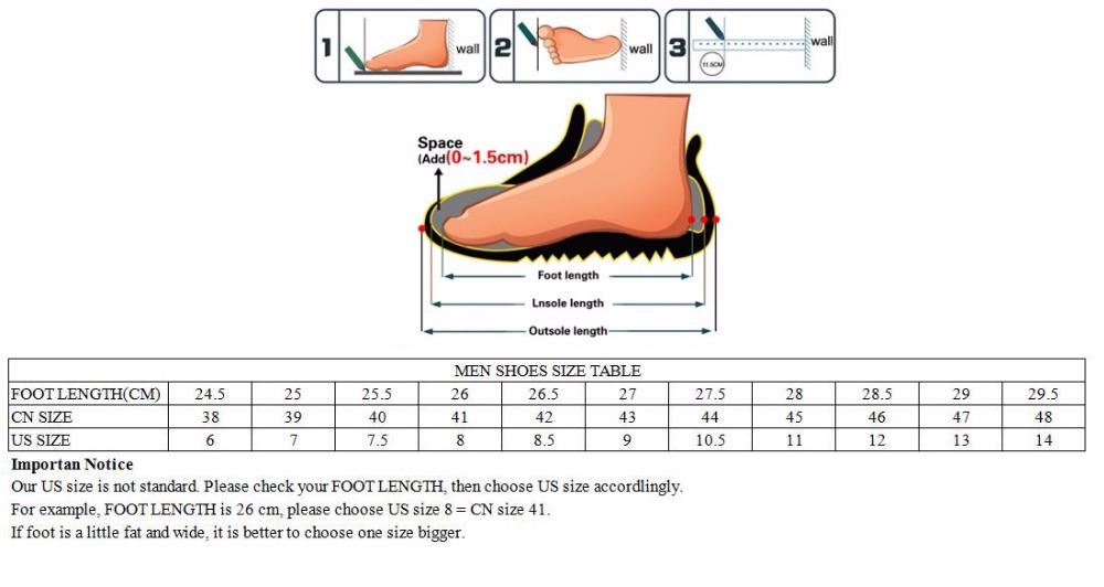 men leather shoes size