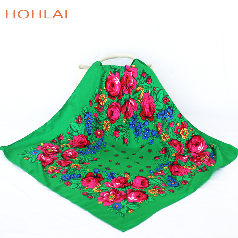 Luxury Besigner Fashion Style Russian Ethnic Pattern Women Cotton Small Scarf  Handkerchief Scarf 70CMX70CM Hijab Shawl