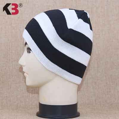Distressed Stripe Slouch Beanie Skull Cap Trendy Warm Winter Slouchy Beanie Hat (6)
