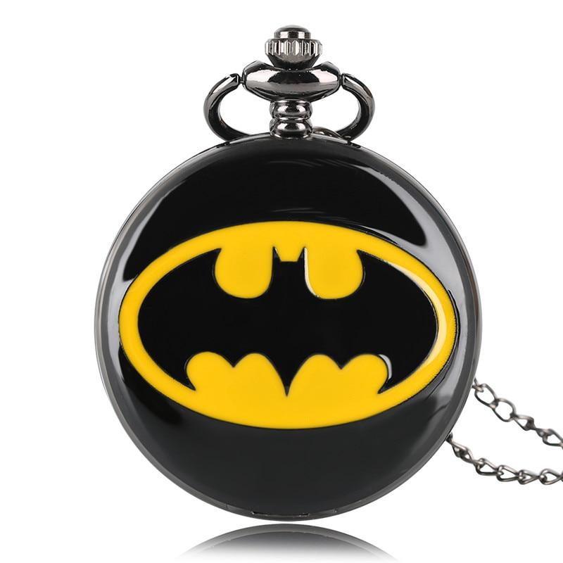 Fashion Black Batman Pocket Fob Watch Quartz Necklace Chain Full Hunter Steampunk Pendant Gift For Kids Men Women Boys Girls