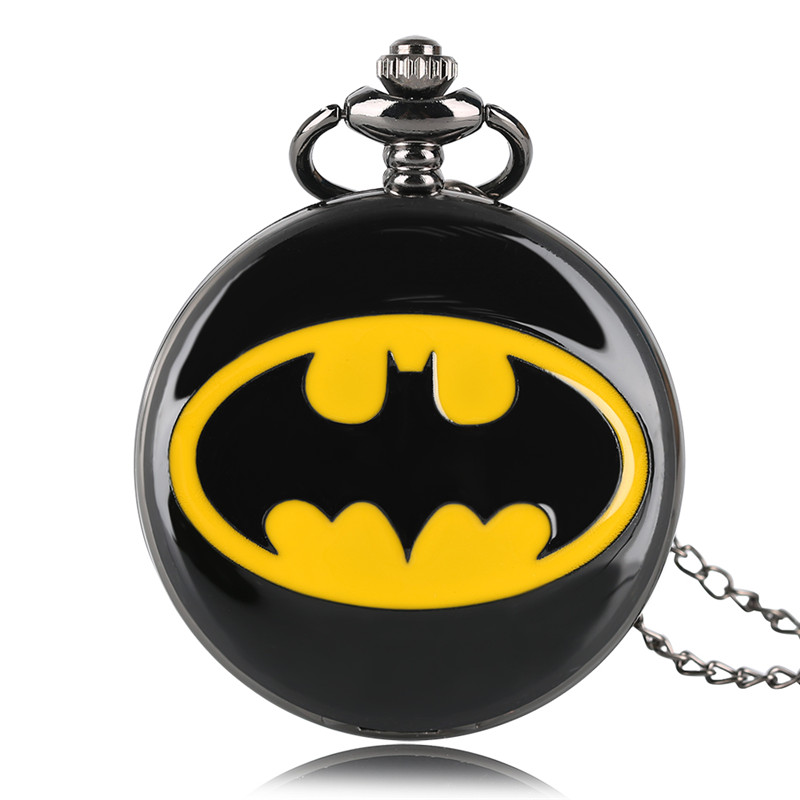 Fashion Black Batman Pocket Watch Quartz Necklace Chain Full Hunter Steampunk Pendant Gift For Kids Men Women Boy