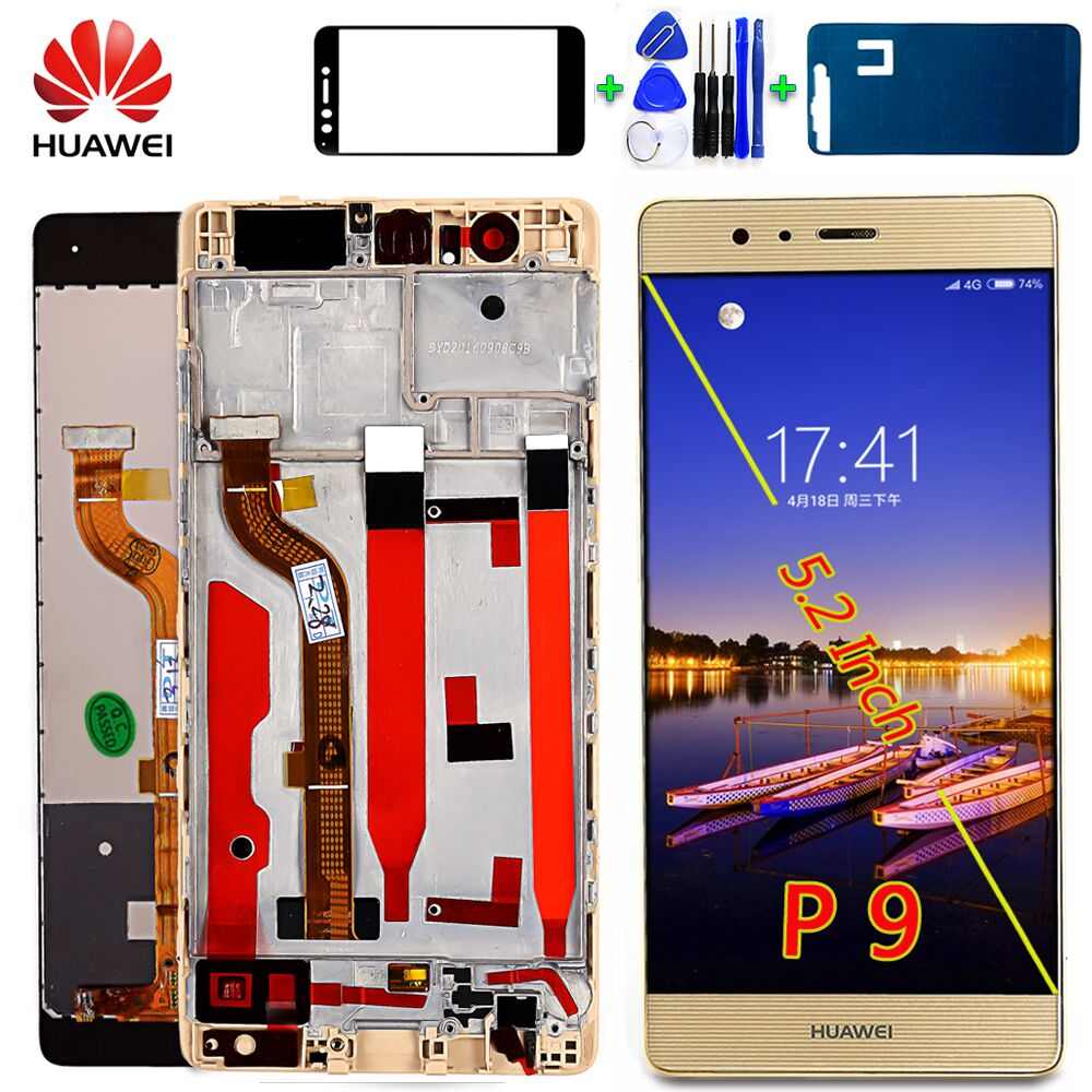 Huawei 5.2 Inch LCD Display For Huawei P9 EVA-L09 EVA-L19 1920*1080 Touch Screen Digitizer Assembly Frame With Glass Film Tools