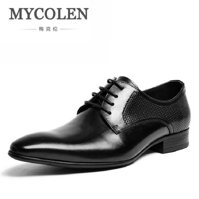 MYCOLEN Men Dress Shoes 2017 Genuine Leather Hollow Breathable Ofiice Dress Shoes Italian Fashion Business Oxford Shoes hot sale mens italian style flat shoes genuine leather handmade men casual flats top quality oxford shoes men leather shoes