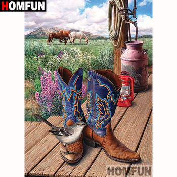 HOMFUN Full Square/Round Drill 5D DIY Diamond Painting Shoes bird scenery Embroidery Cross Stitch 5D Home Decor Gift A18258 dispaint full square round drill 5d diy diamond painting teacup bird scenery 3d embroidery cross stitch 5d home decor a18408