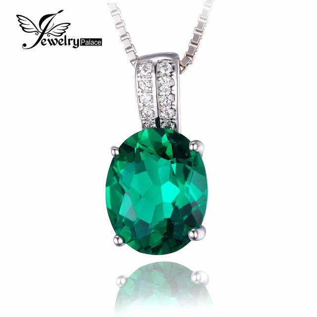 Jewelrypalace Oval Criado Nano Russo Emerald Pingente de Prata 925 Pingente New Para As Mulheres Não Inclui a Cadeia
