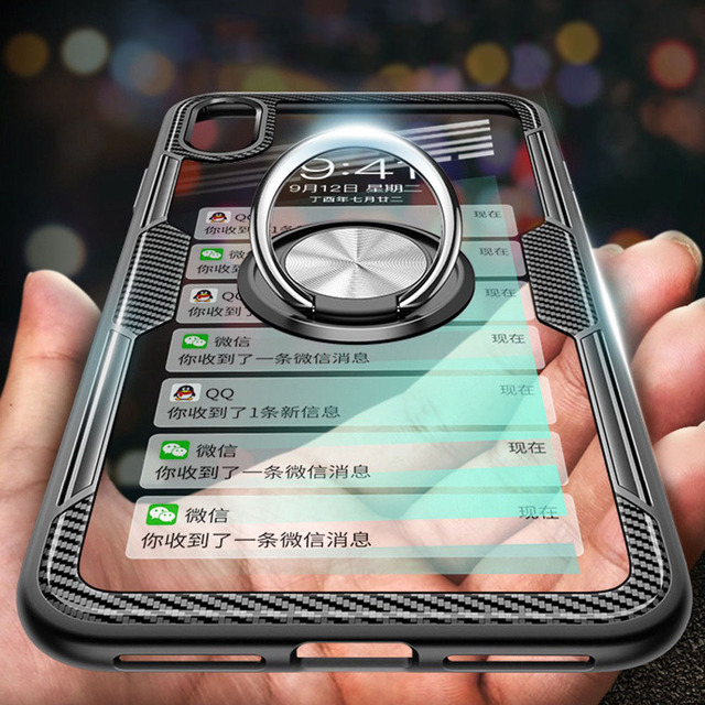 72463b04d5e129 Luxury Clear Armor Phone Case for iPhone X XS MAX XR Transparent Magnetic  Car Ring Holder Hard PC Cover For iphone 8 7 6 6S Plus