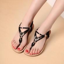 2016 Fashion Women's Bohemian Flat Sandals Diamond Thong Beaded Flat Sandals Clip Toe Shoes Women Summer Shoes Zapatos Mujer