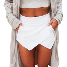 Shorts for women 2018 Short Skirts Womens Shorts Ladies Shorts with high waist Bright Mini Asymmetrical 6 Candy Colors