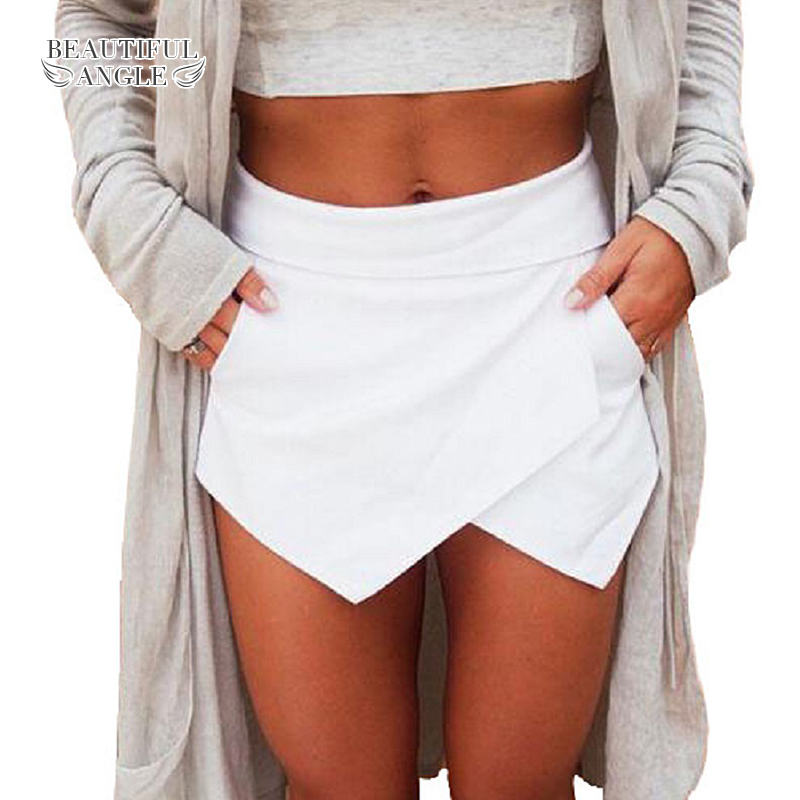 Shorts for women 2018 Short Skirts Womens Shorts Ladies short feminino high waist Bright Mini Asymmetrical 6 Candy Colors