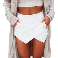 Shorts for women 2017 Skirts Short Ladies Shorts Women Shorts with high waist Bright Mini Asymmetrical 6 Candy Colors