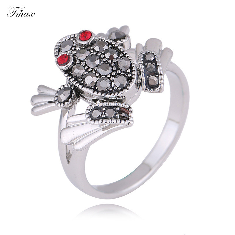 TengMaxi Exaggerated Finger Ring for Lady CZ Zircon Exquisite Girls Women Party Ring Fashion Frog Animal Ring Jewelry