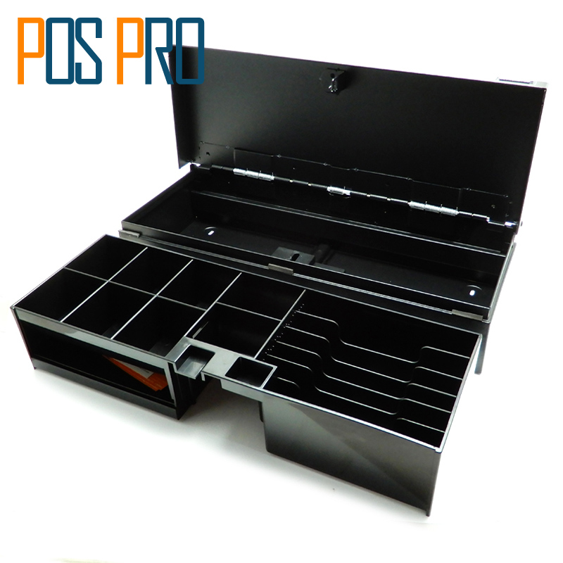 IPCD13 Metal Panel Flip Cash Box POS Cash Drawer Adjustable 8 Coins 6 Bills with RJ11/RJ12/USB interface Check Hole Safety