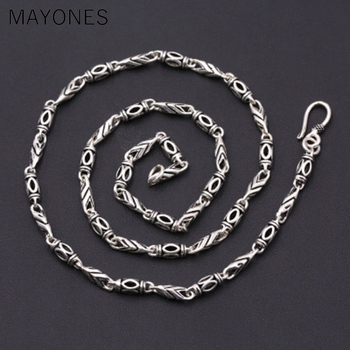4mm Thick Personalized Necklace 100% 925 Sterling Silver fashion Jewelry Men Women Bamboo Rope Chain Necklace Pendant 2019