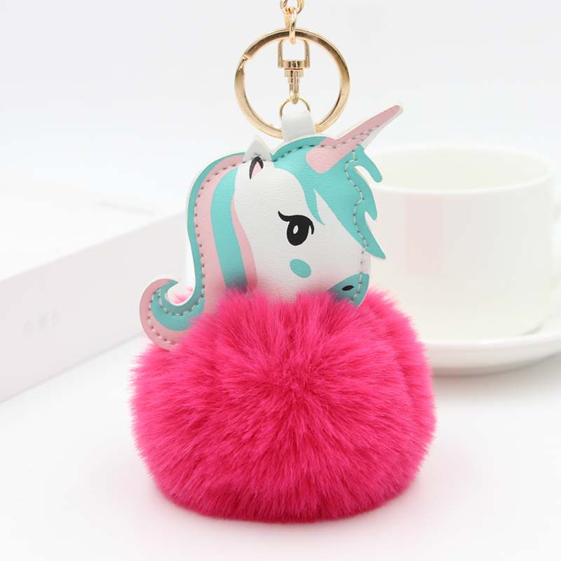 New Fashion Anime Horse Toy Cute Leather Unicorn KeyChain Plush Toy Pendant Women Fluffy Fur <font><b>Pom</b></font> <font><b>Pom</b></font> <font><b>Keyring</b></font> Bag Hang Plush Toy image