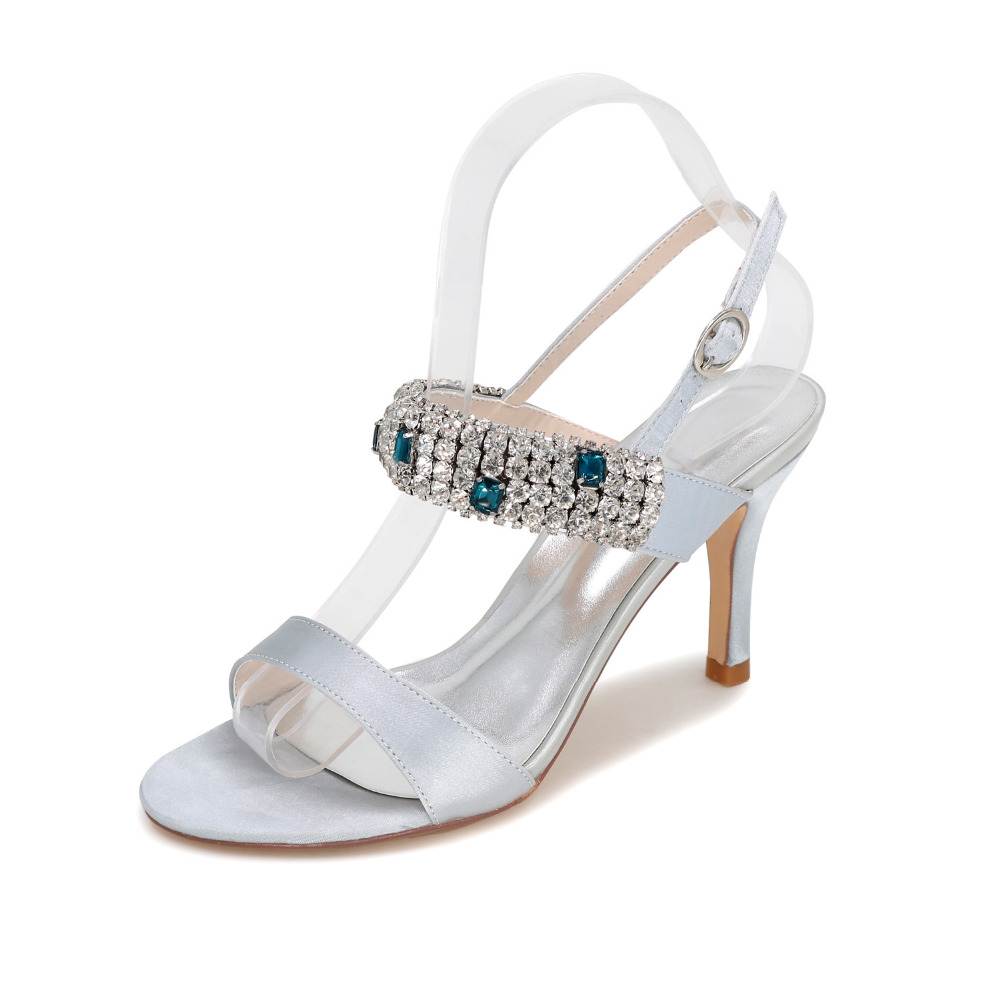 Awesome Sugar Sparkle Crystal Heel Sandals Summer Satin Evening Partycocktail Dress Shoes Prom Wedding Silver Grey Purple Heels Fromshoes On Sugar Sparkle Crystal Heel Sandals Summer Satin Evening