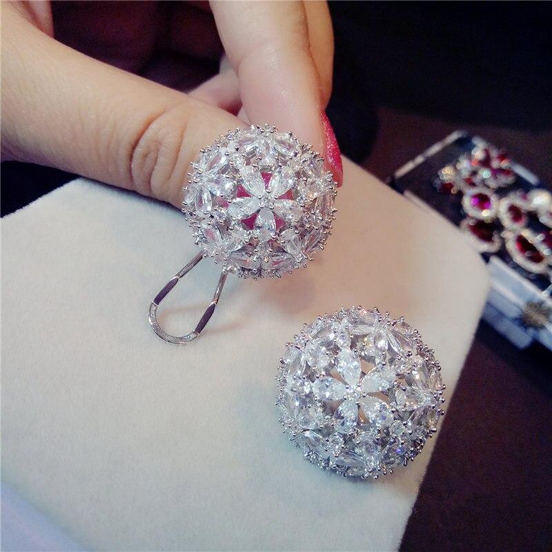 Clip Earrings For Women S925 Sterling Silver Fine Jewelry Hyperbole Big Flower Round Temperament Ear Studs Luxury Brincos