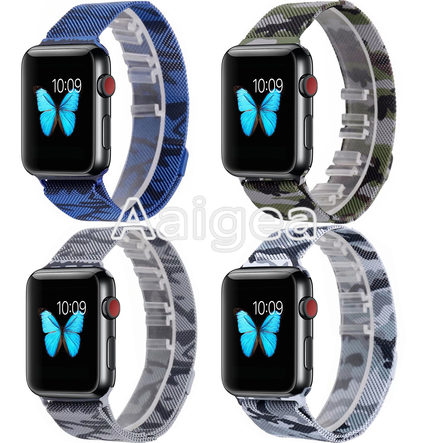 Camo Milanese Stainless Steel Band Strap for Apple Watch Series1 2 3 42mm Colorful Replacement Metal Wrist band for apple watch стоимость