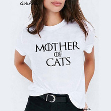 Mother of cats t shirt Women Dracarys camiseta mujer tshirt vintage funny white t-shirt Top Dragon harajuku summer tee