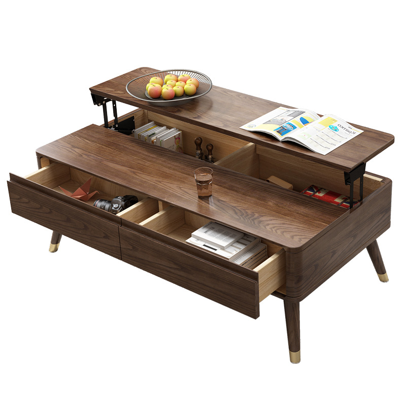 Reasonable Scandinavian Solid Wood Multi-function Folding Table With Telescopic Lifting Tea Table White Wax Wood Storage Table
