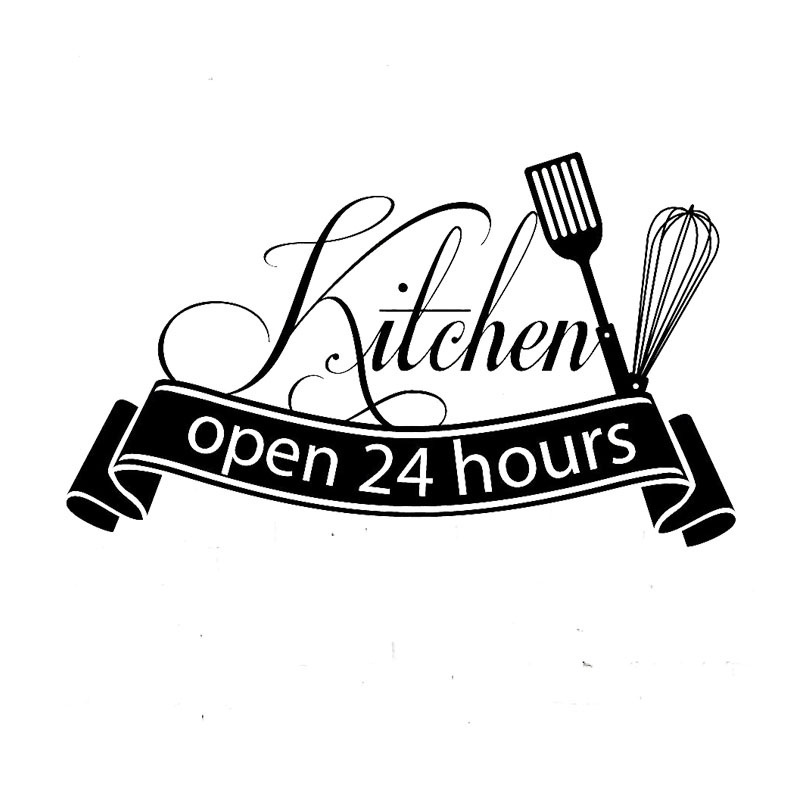 Cuisine Wall Sticker Open 24 Hours Kitchen Wall Decals For Restaurant Decoration Shop Store Decor Home Decoration Dinning ZS55