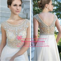 Women\\\\\\\'s Evening Gowns With Short Sleeves See Through Crystal Beaded Chiffon A Line Long Prom Dresses 2014 Fast Shipping Jov88174