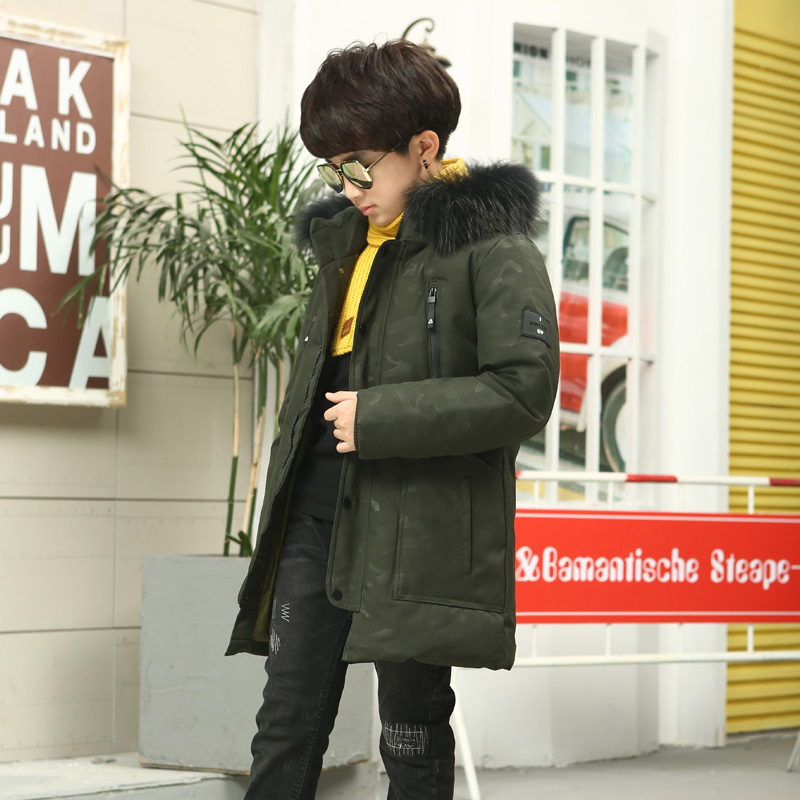 Russia Winter Jacket Boys Down Jacket Winter Parka Kids Duck Down Coat Children Boy Clothing True Fur Hooded Outerwear winter girl jacket children parka winter coat duck long thick big fur hooded kids winter jacket girls outerwear for cold 30 c