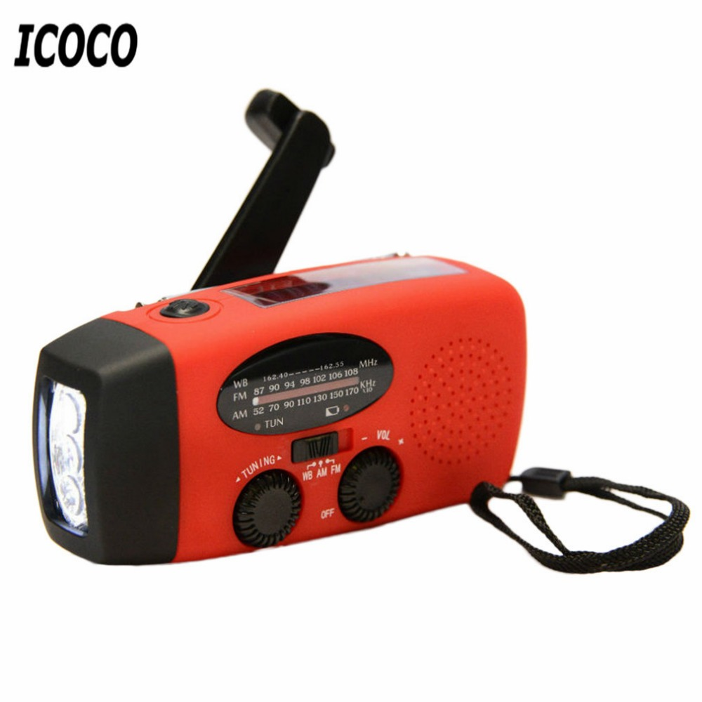 ICOCO Emergency Charger Flashlight hand Crank Generator Wind up Solar Dynamo Powered FM/AM Radio Phones Charger LED Flashlight multifunctional crank dynamo am fm hand crank solar radio usb mobile phone charger led torch flashlight blutooth speaker