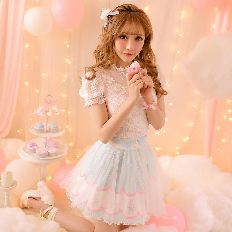 Blouse Couture Manches Mousseline Pluie Doux Dentelle Skirt Chemise En Lolita shirt Sweet Nouvelle C16ab6068 Courtes Soie Princesse Été De À 2016 Sucrerie Cna7UXxwq