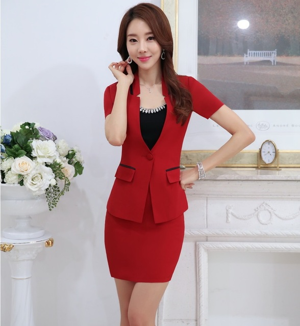 Novelty Red Formal OL Styles Work Suits Jackets And Mini Skirt Ladies Slim Fashion Professional Business Blazers Outfits Set