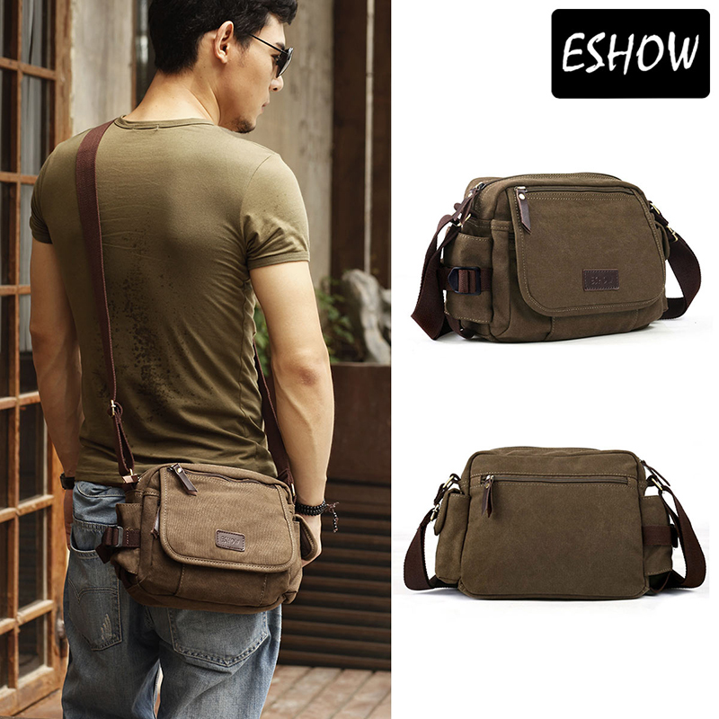 Eshow military small satchel bag canvas bag men shoulder bags ...