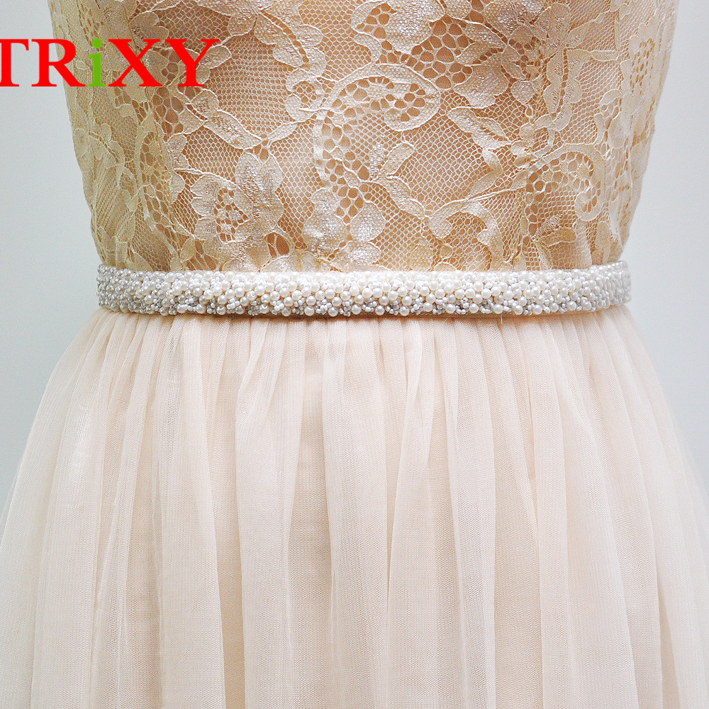TRiXY S204 FREE SHIPPINGPearls Beaded Wedding Belt Bridal Sashes Pearls Wedding Accessories Bride Bridesmaid Dress Belts
